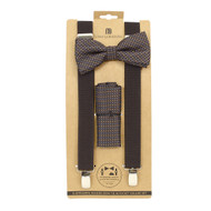 3pc Men's Brown Clip-on Suspenders, Dotted Bow Tie & Hanky Sets FYBTHSU-BR21