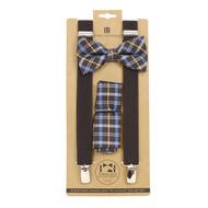 3pc Men's Brown Clip-on Suspenders, Plaid Bow Tie & Hanky Sets FYBTHSU-BR22
