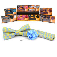 24pc Assorted Pack Boxed Micro Bow Tie and Hanky with Lapel Pin Set BTHLB3000