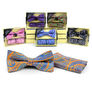 12pc Pack Assorted Bow Tie & Matching Hanky BTHB3812