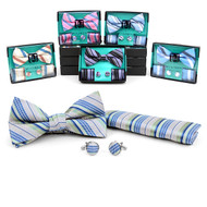 12pc Pack Assorted Bow Tie, Matching Hanky & Cufflinks BTHC1000S