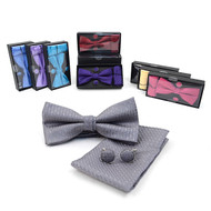 12pc Pack Assorted Bow Tie, Matching Hanky & Cufflinks BTHC2000