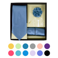 12pc Assorted Pack - Tie and Hanky with Lapel Pin Box THLB3000