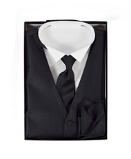 Matching Solid Vest, Velcro Tie, and Handkerchief Boxed Set FVTHB1001