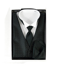 Matching Solid Vest, Velcro Tie, and Handkerchief Boxed Set FVTHB1002
