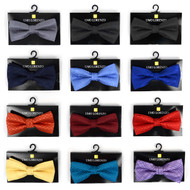 12pc Prepack Assorted Solid Tone Poly Woven Banded Bow Ties FBB-SLD