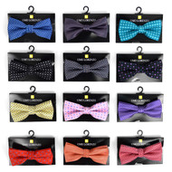 12pc Prepack Assorted Neat Pattern Poly Woven Banded Bow Ties FBB-NT
