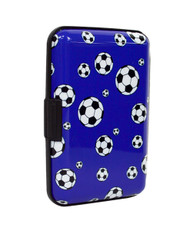 12pc Pack Card Guard Aluminum Compact Card Holder - Soccer Ball CASE024