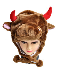 6pc Pre-Pack Animal Fleece Hats - Brown Cow HATCW111453