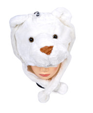 6pc Pre-Pack Animal Fleece Hats - White Tiger HATCW111316