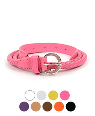 12 pc Solid Color Leather Skinny Braided Belt HW2010