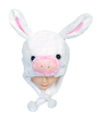 6pc Pre-Pack Animal Fleece Hats - Pig Bunny HATC2060