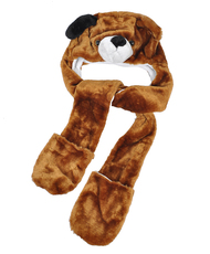 6pc Pre-Pack Animal Hats With Paw - Brown Dog AHP2007