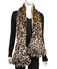 Animal Faux Fur Scarf With Paw AHP1060