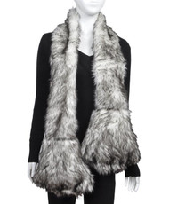 Animal Faux Fur Scarf With Paw AHP1070