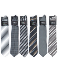 6 Pack Assorted Poly Woven Tie & Hanky Set PWTHBK
