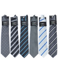 6 Pack Assorted Poly Woven Tie & Hanky Set PWTHBK2