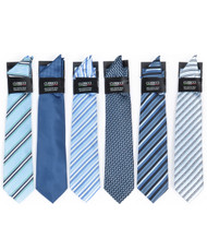 6 Pack Assorted Poly Woven Tie & Hanky Set PWTHBL
