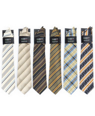 6 Pack Assorted Poly Woven Tie & Hanky Set PWTHBR