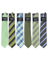 6 Pack Assorted Poly Woven Tie & Hanky Set PWTHGR