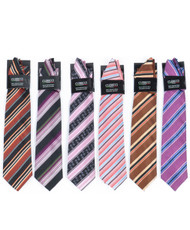 6 Pack Assorted Poly Woven Tie & Hanky Set PWTHFA
