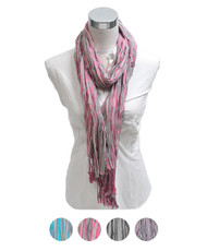 Slim Striped 100% Viscose Fringed Scarf LS2907