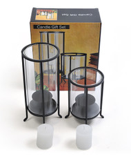 2-Piece Glass & Metal Cylinder Candle Holders CH1130