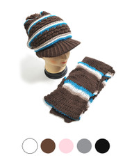 Striped Knit Acrylic 2-Piece Cap and Scarf Set WNTSET27