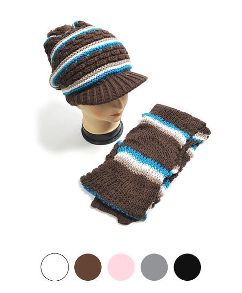Striped Knit Acrylic 2-Piece Cap and Scarf Set WNTSET27