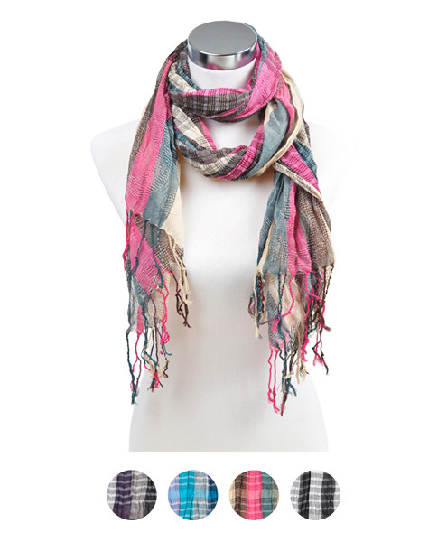 6pc Pre-Pack Ladies Polyester Scarf LS3320