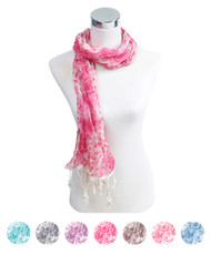 6pc 100% Viscose Fringed Scarf LS3500