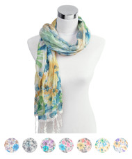 6pc 100% Viscose Fringed Scarf LS3550