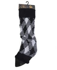 2-Tone Diamond Knit Leg Warmers Black & White LW1061