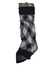2-Tone Diamond Knit Leg Warmers Black & Gray LW1062