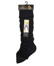 Chic Solid Color Knit Tall Leg Warmers Black LW1031