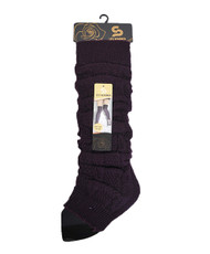 Chic Solid Color Knit Tall Leg Warmers Plum LW1034
