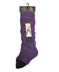 Chic Solid Color Knit Tall Leg Warmers Purple LW1035