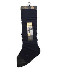 Solid Color Thermal Knit Tall Leg Warmers Navy LW1075