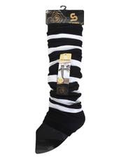 White Stripes Knit Tall Leg Warmers Black LW1041
