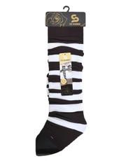 White Stripes Knit Tall Leg Warmers Brown LW1042