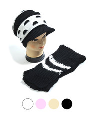 Half-Moon Pattern Knit Acrylic 2-Piece Cap and Scarf Set WNTSET32