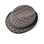6pcs Two Sizes Fall/Winter Brown Checked Fedora Hat HT0299-BR