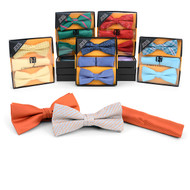 12pc Prepack Assorted Pretied Duo Bow Ties and Matching Hanky BTHB-DUO-B