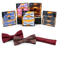 12pc Prepack Assorted Pretied Duo Bow Ties and Matching Hanky BTHB-DUO-A