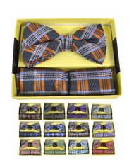 12pcs Fall and Winter Assorted Pack Bow Tie & Hanky Set BTHB3000