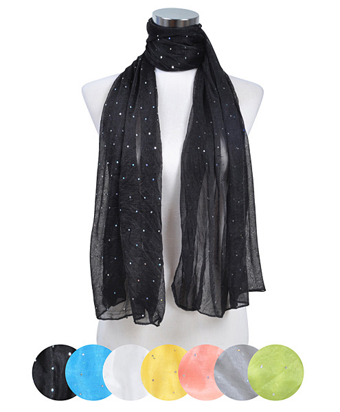 12pc Assorted Pre-Pack Ladies Polyester Scarf LS4040