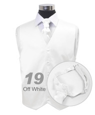 """Off White"" Poly Solid Satin Cravat FC1701-19"