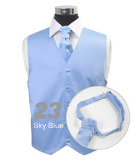 """Sky Blue"" Poly Solid Satin Cravat FC1701-23"