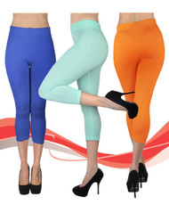 6pc Women's Solid Capri Leggings L0500
