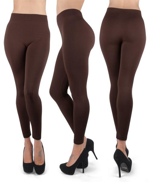 12pc 100% Poly Stretch Leggings Coffee L0635